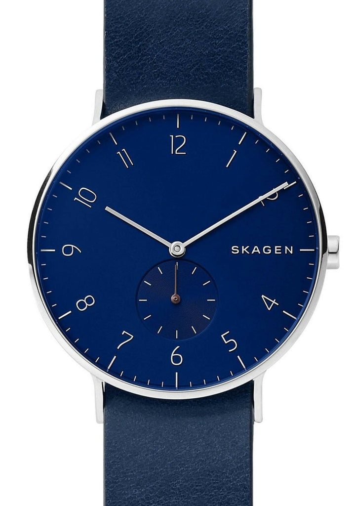 Skagen Aaren Blue Dial - Red Blue Reversible Leather Band Men's Watch SKW6478 - luxfinejewellery