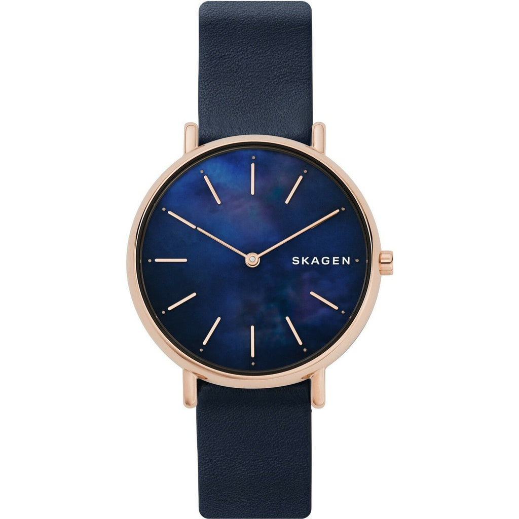 New Skagen Signatur Ultra Slim Blue Dial Leather Band Women's Watch SKW2731 - luxfinejewellery
