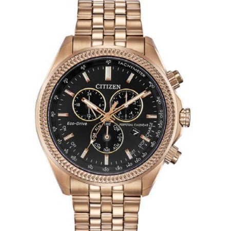 New Citizen Brycen Eco Drive Rose Gold Perpetual Chrono Men's Watch BL5563-58E - luxfinejewellery