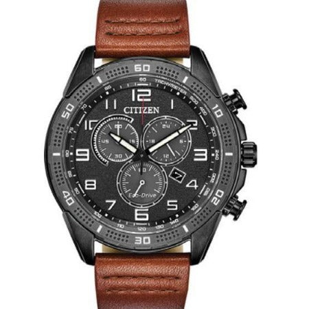 New Citizen LTR Eco-Drive Black Dial Leather Band Men's Chrono Watch AT2447-01E - luxfinejewellery