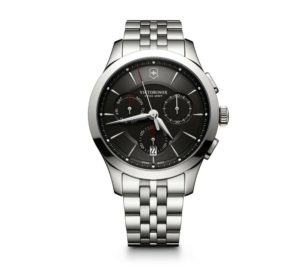 New Victorinox Alliance Chronograph ST Steel Silver Black Dial Mens Watch 241745 - luxfinejewellery