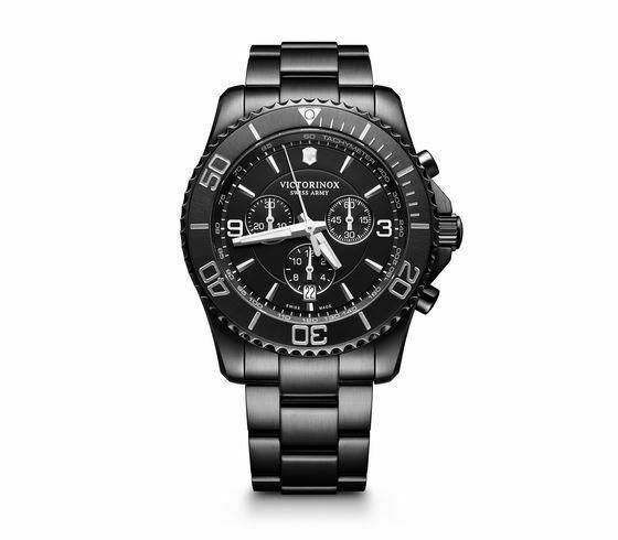 New Victorinox Maverick Chrono Black Edition Stainless Steel Men's Watch 241797 - luxfinejewellery