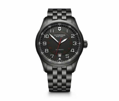 New Victorinox AirBoss Mechanical Stainless Steel Black Dial Men's Watch 241740 - luxfinejewellery