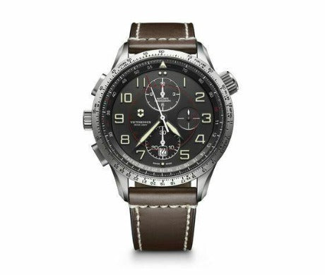 New Victorinox AirBoss Mach 9 Black Chrono Dial Leather Band Men's Watch 241710 - luxfinejewellery