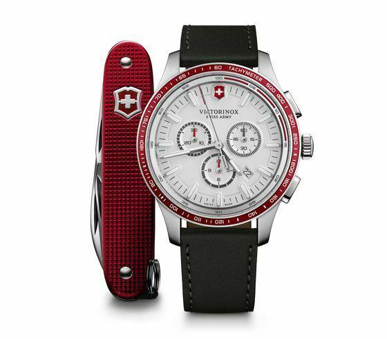 Victorinox Alliance Sport Chronograph White Dial Leather Band Men Watch 241819.1 - luxfinejewellery