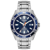 New Citizen Promaster Diver Eco Drive ST Steel Blue Dial Men's Watch BN0191-55L - luxfinejewellery