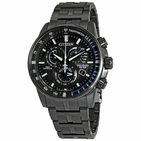 Citizen Eco Dr Perpetual Chrono AT ST Steel Black Dial Men's Watch AT4127-52H - luxfinejewellery