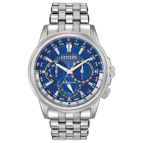 New Citizen Calendrier Eco Drive Stainless Steel Blue Dial Mens Watch BU2021-51L - luxfinejewellery