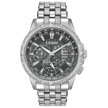 New Citizen Calendrier Eco Drive 32 Diamond Black Dial Mens Watch BU2080-51H - luxfinejewellery