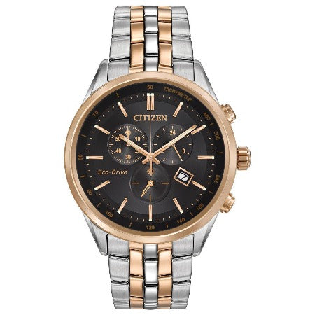 Citizen Corso Eco Drive Stainless Steel Black Dial Men's Chrono Watch AT2146-59E - luxfinejewellery