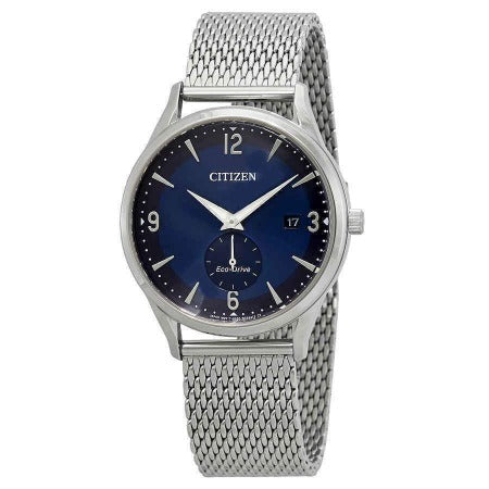 New Citizen Eco Drive Stainless Steel Blue Dial Mesh Band Men's Watch BV1110-51L - luxfinejewellery