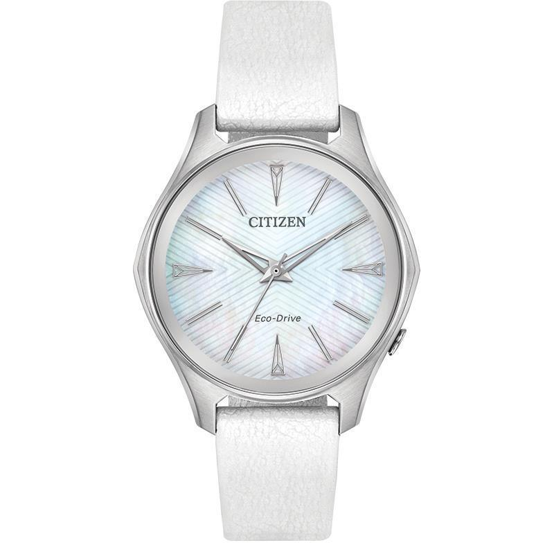 Citizen Modena Eco Drive Mother of Pearl Leather Band Women's Watch EM0590-03D - luxfinejewellery