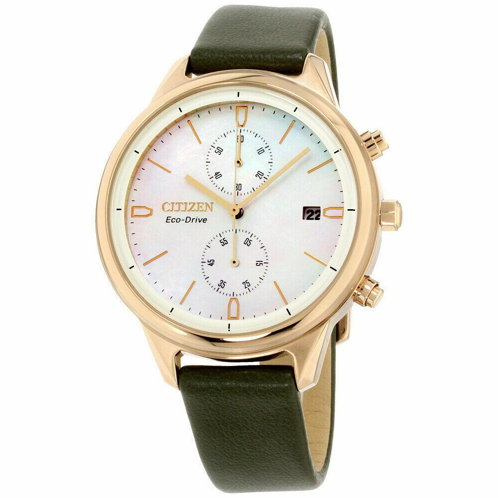 Citizen Chandler Eco Drive Mother of Pearl Leather Band Women's Watch FB2008-01D - luxfinejewellery