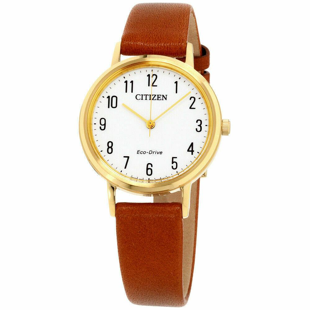 New Citizen Chandler Eco Drive White Dial Leather Band Women's Watch EM0572-05A - luxfinejewellery