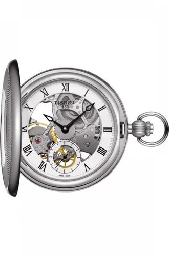 Tissot BridgePort Mechanical Skeleton Steel Case Pocket Watch T859.405.19.273.00 - luxfinejewellery