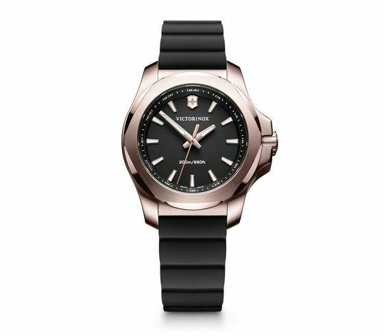 Victorinox INOX V Stainless Steel Black Dial Rubber Band Women's Watch 241808 - luxfinejewellery