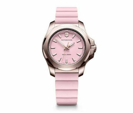 Victorinox INOX V Stainless Steel Pink Dial Rubber Band Women's Watch 241807 - luxfinejewellery