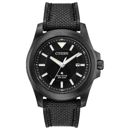 Citizen PROMASTER Tough Eco Drive Black Dial Canvas Strap Men's Watch BN0217-02E - luxfinejewellery