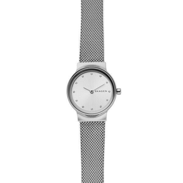 New Skagen Freja Stainless Steel White Dial Mesh Band Women's Watch SKW2705 - luxfinejewellery