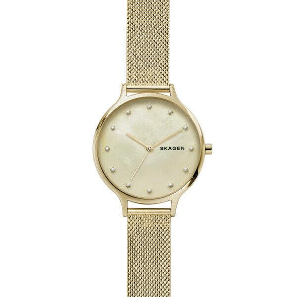 New Skagen ANITA Stainless Steel Gold Dial Mesh Band Women's Watch SKW2774 - luxfinejewellery