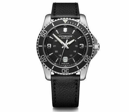 New Victorinox Swiss Army Maverick Black Dial Leather Band Men's Watch 241862 - luxfinejewellery
