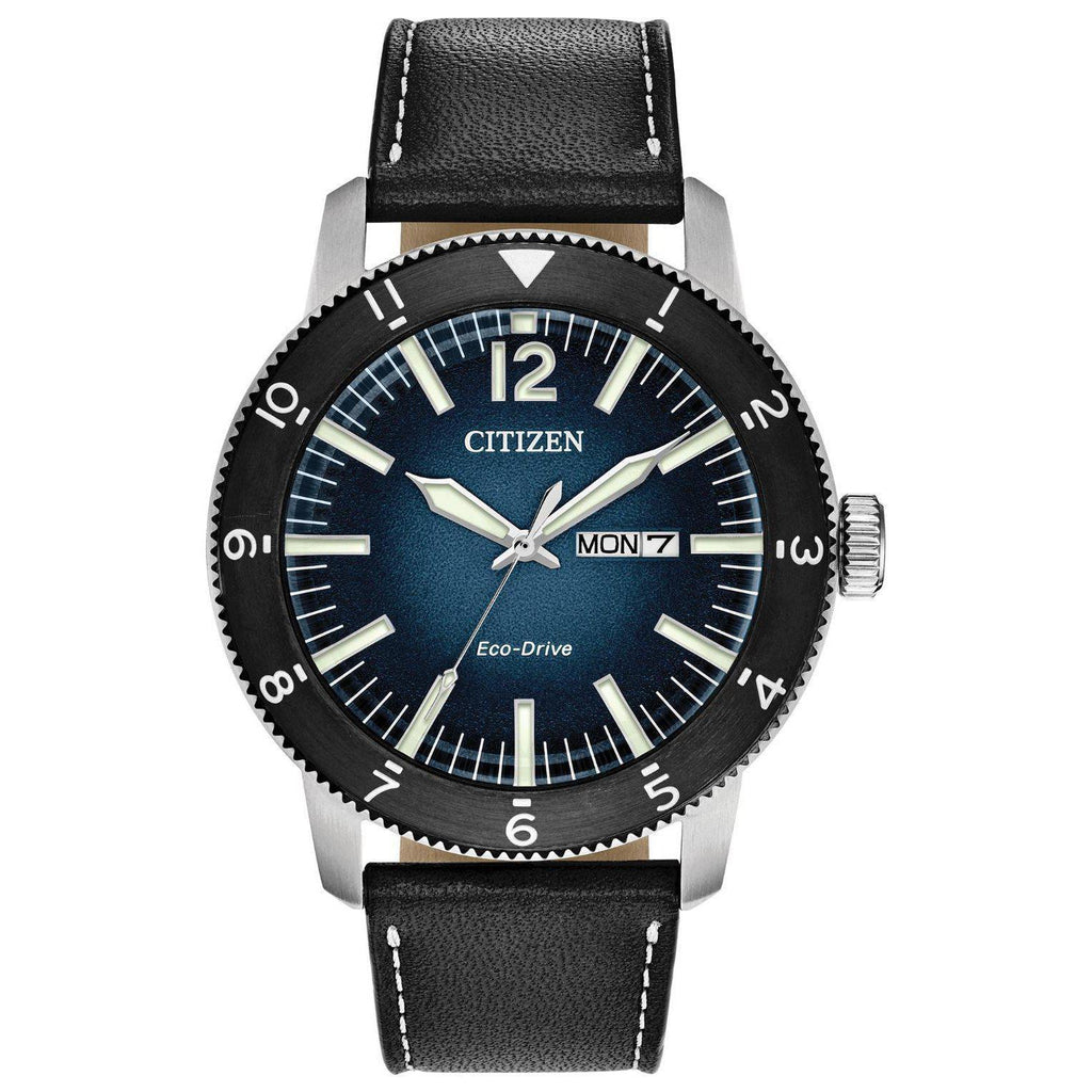 New Citizen Brycen Eco Drive Blue Dial Leather Band Men's Watch AW0078-08L - luxfinejewellery