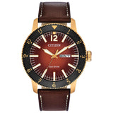 New Citizen Brycen Eco Drive Brown Dial Leather Band Men's Watch AW0076-03X - luxfinejewellery