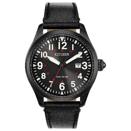New Citizen Chandler Eco Drive Black Dial Leather Band Men's Watch BM6835-15E - luxfinejewellery