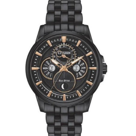 Citizen CALENDRIER Eco Drive Stainless Steel Black Dial Men's Watch BU0057-54E - luxfinejewellery