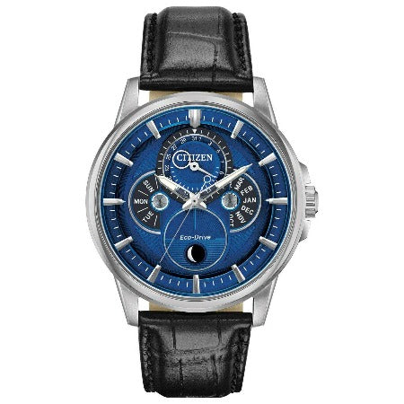 Citizen CALENDRIER Eco Drive Blue Dial Leather Band Men's Watch BU0050-02L - luxfinejewellery