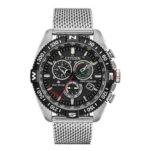 Citizen Promaster NaviHawk Chrono AT Black Dial Mesh Band Men's Watch CB5840-59E - luxfinejewellery