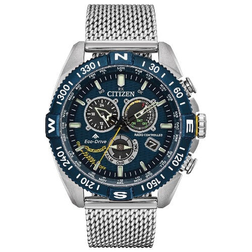 Citizen Promaster NaviHawk Chrono AT Blue Dial Mesh Band Men's Watch CB5848-57L - luxfinejewellery