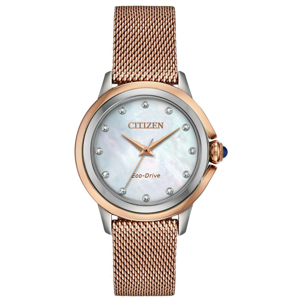 Citizen CECI Eco Drive Mother of Pearl Mesh Band Women's Watch EM0796-75D - luxfinejewellery
