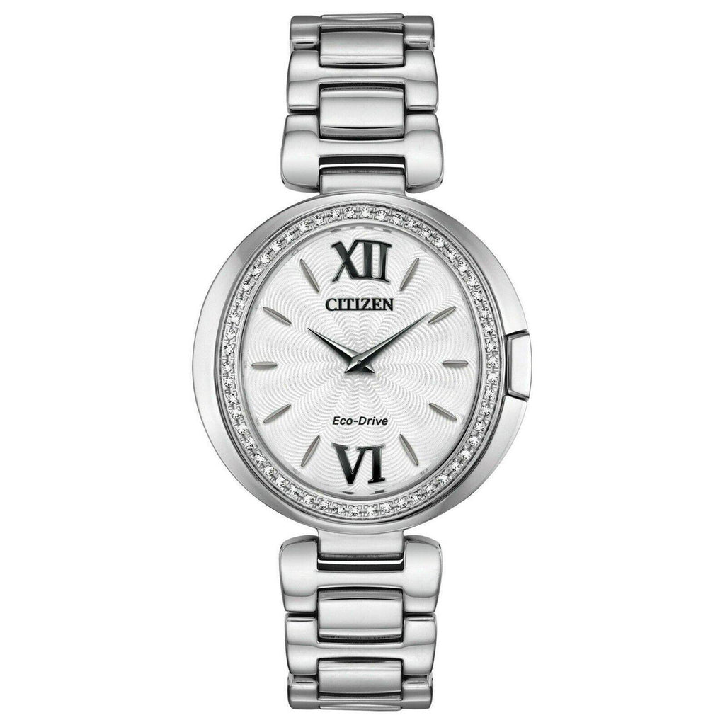 Citizen CAPELLA Eco Drive Stainless Steel Silver Dial Women's Watch EX1500-52A - luxfinejewellery