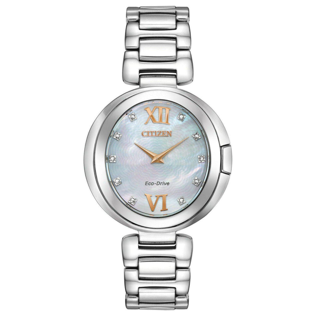 New Citizen CAPELLA Eco Drive Mother of Pearl Dial Women's Watches EX1510-59D - luxfinejewellery