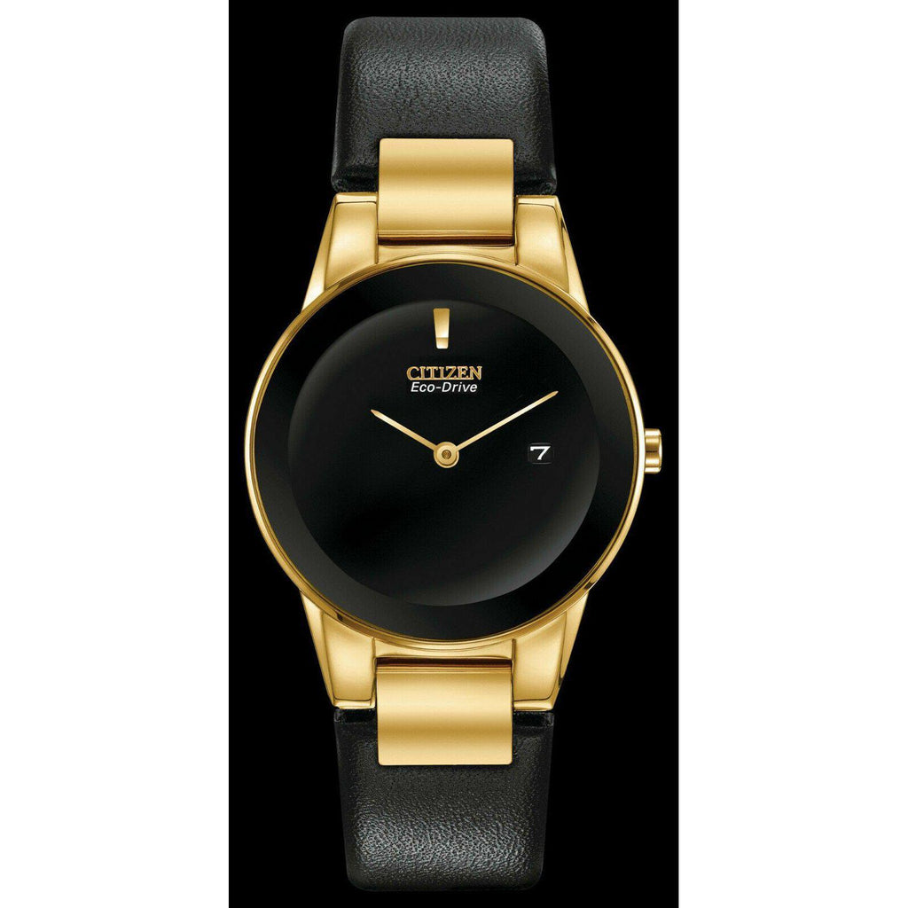 New Citizen AXIOM Eco Drive Black Dial Leather Band women's Watch GA1052-04E - luxfinejewellery