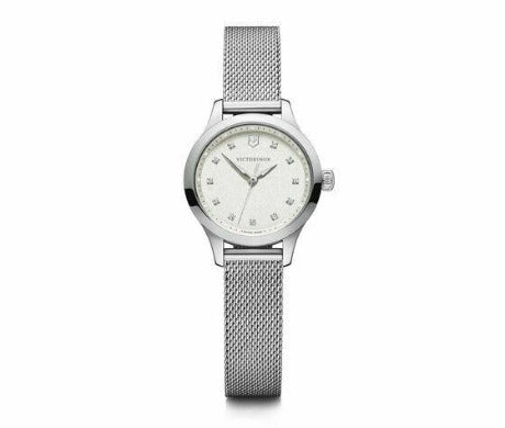 New Victorinox Alliance XS ST Steel Mesh Band White Dial Women's Watch 241878 - luxfinejewellery