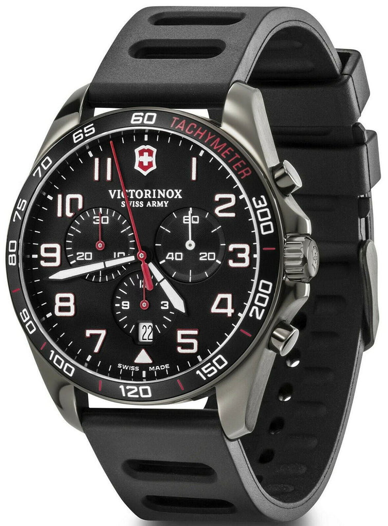 New Victorinox FieldForce Sport Chrono Black Dial Rubber Band Men's Watch 241889-luxfinejewellery