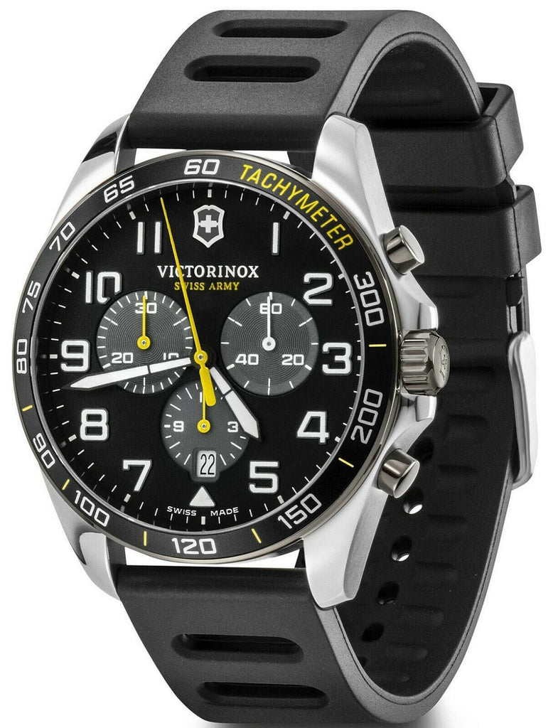 New Victorinox FieldForce Sport Chrono Black Dial Rubber Band Men's Watch 241892-luxfinejewellery