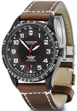 New Victorinox AirBoss Mechanical Black Dial Leather Band Men's Watch 241886-luxfinejewellery