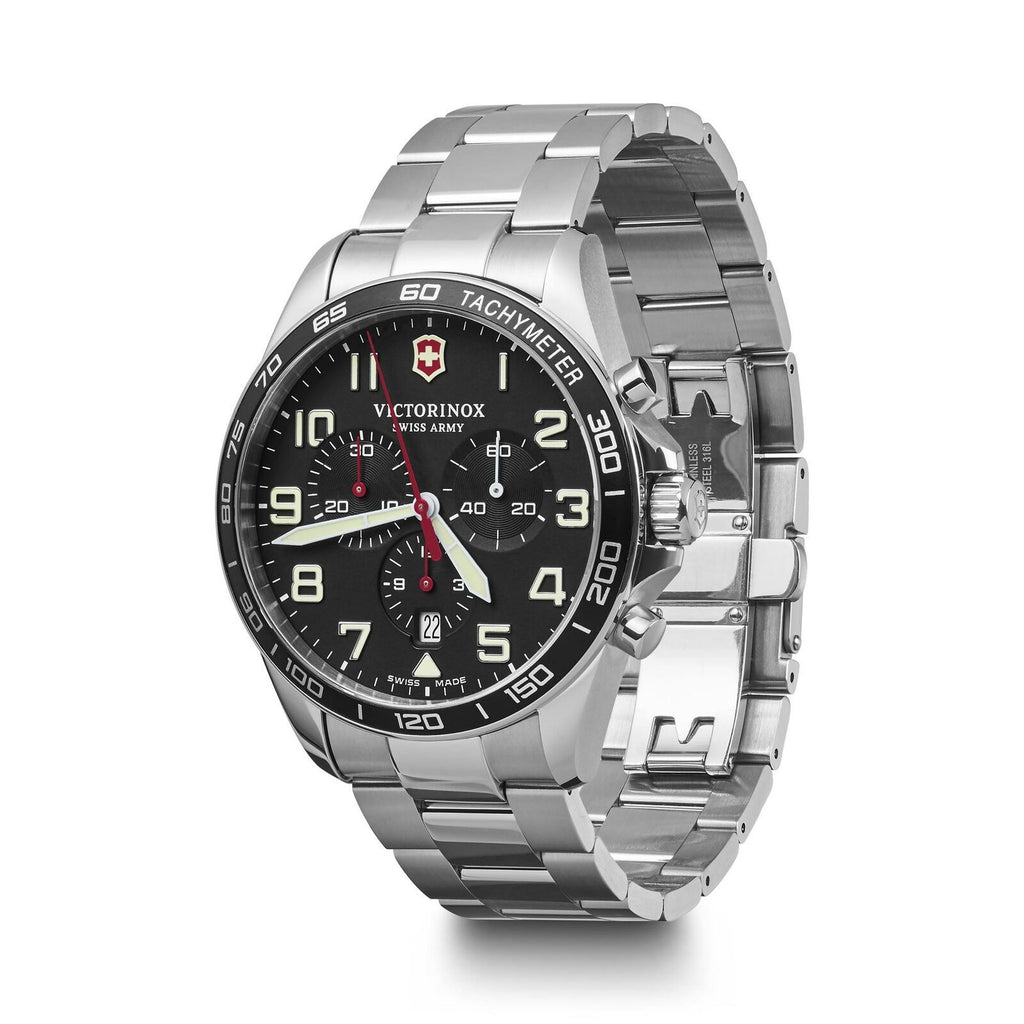 Victorinox FieldForce Chronograph Stainless Steel Black Dial Men's Watch 241855 - luxfinejewellery