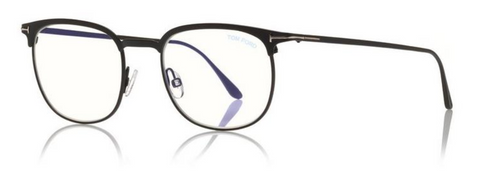 Blue Block Half Rim Opticals in Matte Black