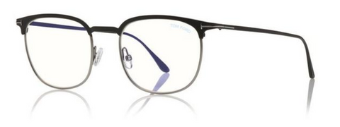 Blue Block Half Rim Opticals in Ruthenium