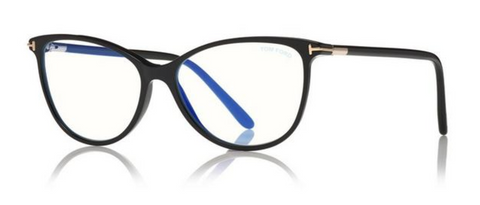 Blue Block Soft Round Opticals in Black