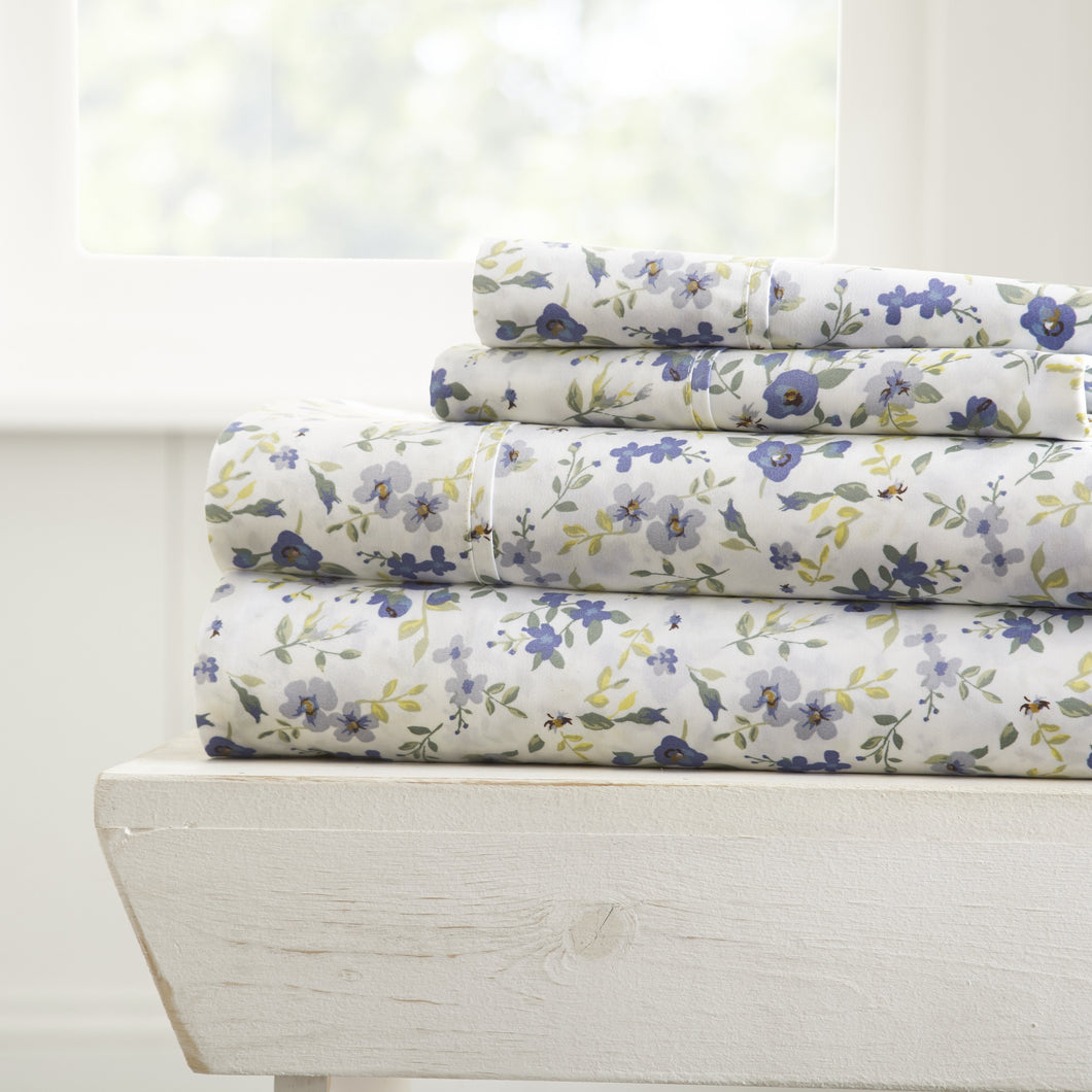 Blossoms Patterned 4-Piece Sheet Set - Sheets - Linens and Hutch