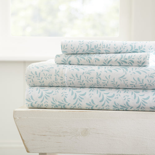 Burst of Vines Patterned 4-Piece Sheet Set - Sheets - Linens and Hutch