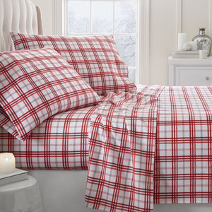 4-Piece Flannel Holiday Plaid Sheet Set - Sheets - Linens and Hutch
