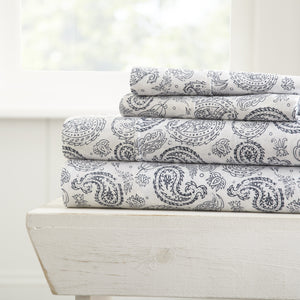 Coarse Paisley Patterned 4-Piece Sheet Set - Sheets - Linens and Hutch