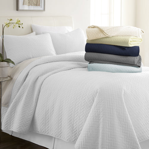 3-Piece Herring Quilted Coverlet Set - Comforters - Linens and Hutch
