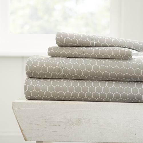 Honeycomb Patterned 4-Piece Sheet Set - Sheets - Linens and Hutch